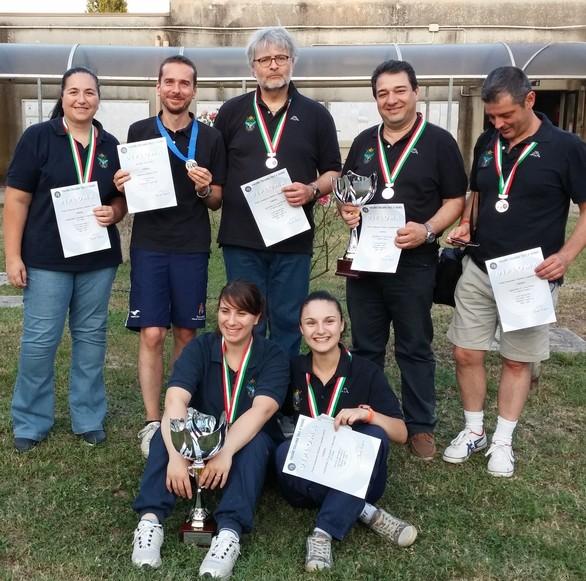 I medagliati del weekend: dall'alto a sinistra in senso orario Antonelli, Buttazzo, Aria, Giampapa, Rubiola, Amato, Ricci